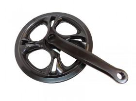 기어크랭크(1단, 48T 양날가드, 스틸, 흑색)